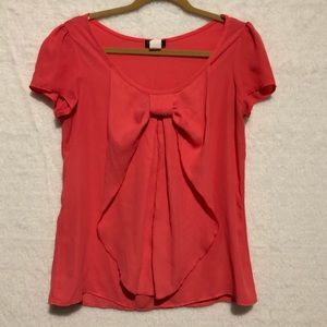 Sheer coral blouse with bow